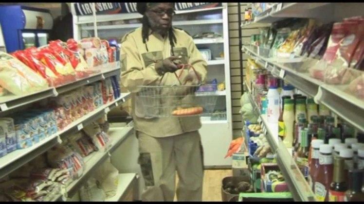 "Macka B shopping for various vegan staples in the music video for 'Wha Me Eat"""